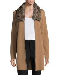 Nipon Boutique - Multicolor Faux-fur Trimmed Open-front Cardigan - Lyst