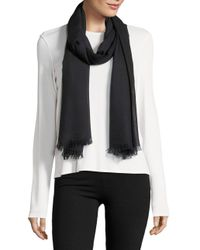 Lord & Taylor - Black Fringe Accented Wrap Scarf - Lyst