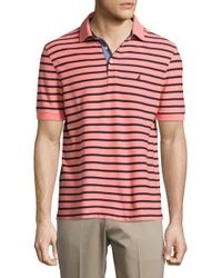 Nautica - Red Short Sleeve Striped Polo for Men - Lyst