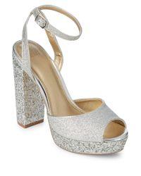 Belle By Badgley Mischka - Metallic Zale Sparkle Leather Platform Sandals - Lyst