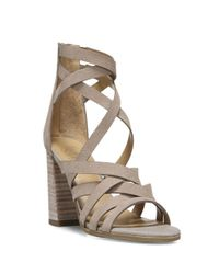 Franco Sarto - Gray Madrid Stacked Heel Leather Sandals - Lyst