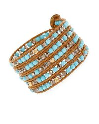 Chan Luu - Multicolor Turquoise And Sterling Silver Beaded Wrap Bracelet - Lyst
