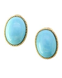 Effy Blue Turquesa Turquoise And 14k Yellow Gold Earrings