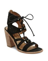 Dolce Vita - Black Luci Leather Cutout Ghillie Lace Sandals - Lyst