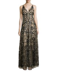 Dress the Population - Black Simone Sequined Lace A-line Gown - Lyst
