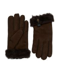 UGG | Brown Tenney Shearling Gloves | Lyst