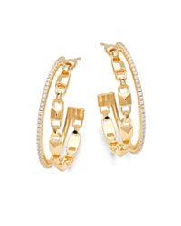 Michael Kors Metallic Mercer Sterling Silver & Crystal Double Row Hoop Earrings