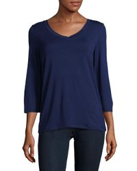 Lord & Taylor - Blue V-neck Top - Lyst