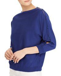Lauren by Ralph Lauren - Blue Button-sleeve Cotton Top - Lyst