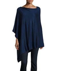 Echo - Blue Asymmetrical Knit Poncho - Lyst