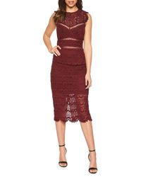 Bardot Red Mariano Lace Sheath Dress
