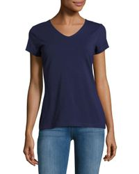 Lord & Taylor | Blue Organic V-neck Tee | Lyst