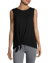 Lord & Taylor - Black Tie-accented Knit Top - Lyst
