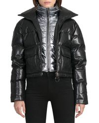 Bagatelle Black Quilted Leather Puffer