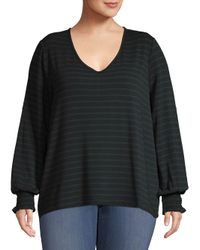 Lord & Taylor Black Plus Striped Pullover