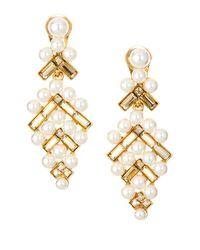 Oscar de la Renta Metallic Faux Pearl And Swarovski Crystal Baguette Clip-on Earrings
