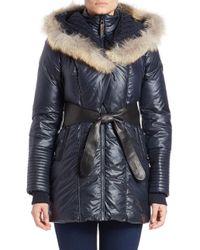 Rudsak Blue Sophie Coyote Fur Hooded Coat