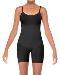 Spanx Black Trust Your Thinstincts Mid-thigh Bodysuit