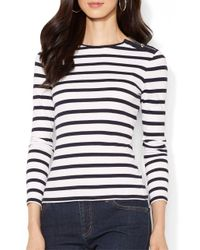 Lauren by Ralph Lauren | Blue Buttoned Shoulder Striped Top | Lyst