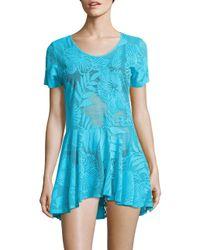 J Valdi - Blue Foliage-motif Scoopneck Dress - Lyst