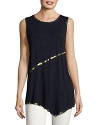T Tahari | Blue Angelica Metallic-trimmed Knit Top | Lyst