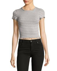 Lord & Taylor - Gray Ribbed Cropped Top - Lyst