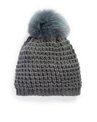 Kyi Kyi - Gray Fox Fur Pom-pom Beanie - Lyst
