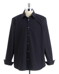 Calvin Klein Black Mini-checked Sportshirt for men