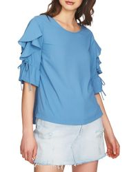 1.STATE - Blue May Ruffled Tie-sleeve Blouse - Lyst