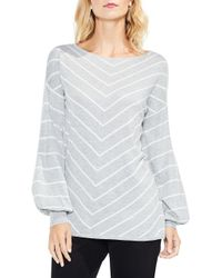 Vince Camuto - Gray Long Sleeve Chevron Intarsia Sweater - Lyst