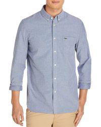 Lacoste - Blue Long-sleeve Cotton Button-down Shirt for Men - Lyst