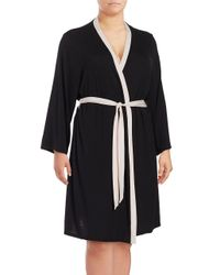 Lord & Taylor | Black Contrast-trimmed Robe | Lyst