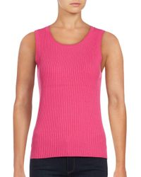 Lord & Taylor - Pink Ribbed-knit Shell - Lyst