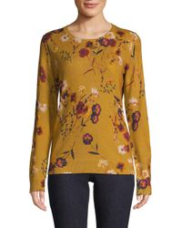 Lord & Taylor Yellow Floral Crewneck Cashmere Sweater