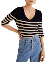 Mango - Blue Knit Striped Sweater - Lyst