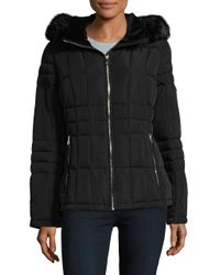 CALVIN KLEIN 205W39NYC - Black Faux Fur Trim Quilted Coat - Lyst