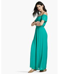 Lucky Brand Green Off The Shoulder Maxi Dress