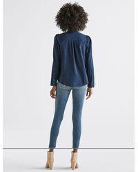 Lucky Brand Blue Polka Dot Puff Sleeve Shirt
