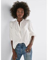 Lucky Brand White Polka Dot Puff Sleeve Shirt