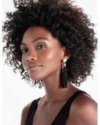 Lucky Brand - Black Knotted Tassel Earring - Lyst