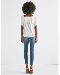 Lucky Brand White Embroidered Peasant Top
