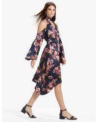 Lucky Brand - Blue Cold Shoulder Floral Dress - Lyst