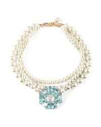 Lulu Frost - Metallic Vintage Aqua Blue Pearl Collage Necklace - Lyst