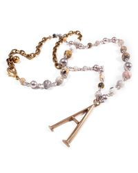 Lulu Frost - Metallic Plaza Number Necklace - Agate Stone Chain - Lyst