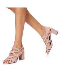 Lulu Guinness Pink Nude Rose Block Heel Fifi Sandal