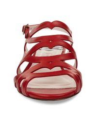 Lulu Guinness Red Flat Ines Sandal