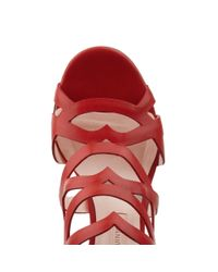 Lulu Guinness Red Block Heel Fifi Sandal
