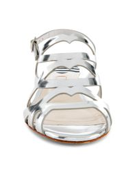 Lulu Guinness Metallic Silver Mirror Leather Ines Sandal