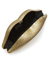 Lulu Guinness Metallic Gold Glitter Perspex Lips Clutch