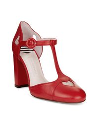 Lulu Guinness Red Smooth Leather Clemence Court